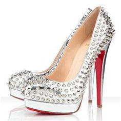 Christian Louboutin Bianca Spikes 140mm Platforms Silver