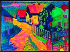 Wassily Kandinsky, Street in Murnau, 1908 on ArtStack #wassily-kandinsky-vasilii-vasil-ievich-kandinskii #art