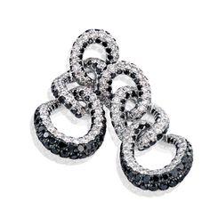Black & White Diamond Pave Cirle Drop Earrings