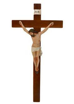 altezza Cristo cm. 50 in resina croce di legno cm. 100x50 dipinto con colori acrilici   http://www.ovunqueproteggimi.com/collezione-statue/ges%C3%B9/cristo-in-croce/