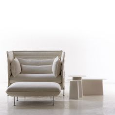 Alcove sofas create a setting for a safe and secure world with its soft seat and backrest upholstery, as well as the high, flexible side and back panels. Ronan and Erwan Bouroullec were inspired by the idea of a sofa going beyond being merely a piece of furniture and become a room within a room.