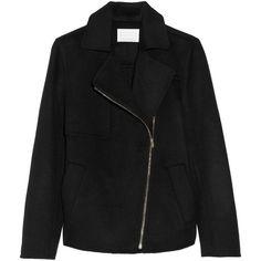 Alexander Wang Wool-blend felt jacket (252.220 CLP) ❤ liked on Polyvore featuring outerwear, jackets, alexander wang, coats, coats & jackets, black, loose jacket, wool blend jacket, asymmetrical zipper jacket and alexander wang jacket