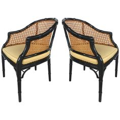 Vintage Pair of Lacquered Faux-Bamboo and Cane Chairs | From a unique collection of antique and modern armchairs at https://www.1stdibs.com/furniture/seating/armchairs/
