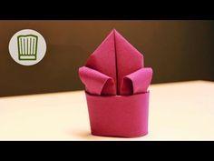 Servietten falten - Die Lilie - Tischdeko selber machen - Video-Faltanleitung #chefkoch - YouTube