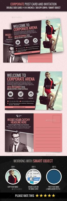 Corporate and Business Post Card Template #design Download: http://graphicriver.net/item/corporate-and-business-post-card-template/12171958?ref=ksioks