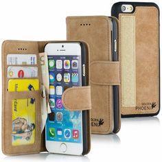 Golden Phoenix iPhone 6 Plus Tasche Royal Wildleder hellbraun