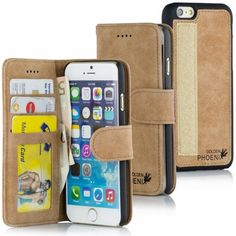 Golden Phoenix iPhone 6 Plus Tasche Royal Wildleder hellbraun
