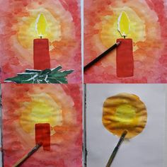 """christmas candles """"ADVENT CANDLE"""" Here is an idea for the upcoming advent or wi Advent Candles, Christmas Candles, Kids Christmas, Christmas Crafts, Art For Kids, Crafts For Kids, Arts And Crafts, Winter Instagram, Art Journal Prompts"""
