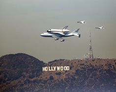 """humanoidhistory: """" The Space Shuttle Endeavour flies over Hollywood, 2012. (via) """""""