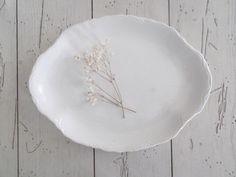 White Platter Vintage Ironstone Oval Dish Wedding Centerpiece Farmhouse Decor by SeasideRoseCreations on Etsy https://www.etsy.com/listing/184372580/white-platter-vintage-ironstone-oval