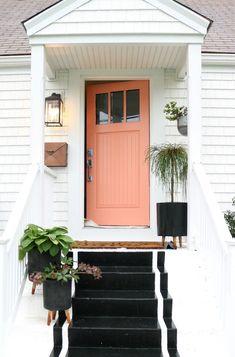 Painted Front Door Tips and our new PINK Door Painting Tips for Front Door- Pink Front Door Sw- coral perfection Coral Front Doors, Coral Door, Front Door Paint Colors, Exterior Paint Colors For House, Painted Front Doors, Paint Colors For Home, Paint Colours, Mobile Home Front Door, House Front Door