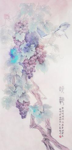 +醉熟+-弦川_水彩 弦川 葡萄 封面 紫色 国画_涂鸦王国插画