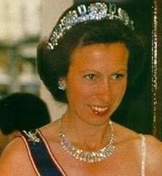 Princess Anne, wearing her grandmother, Queen Elizabeth's aquamarine tiara in it's original form.