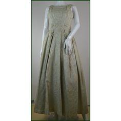 e8084162cf Vintage 1950s - Frank Usher - Size: 4/6 - Cream / ivory with Gold  patterning - Sleeveless Full Length Dress | Oxfam GB