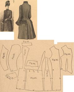 Der Bazar 1889: Demi-long paletot from blue cloth with black soutache; 39. vest insertion, 40. paletot's front part, 41. and 42. side gores, 43. back part in half size, 44. pocket, 45. collar in half size, 46. and 47. sleeve parts, 48. cuff in half size