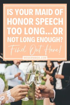 How long should a maid of honor speech be? And how do you tell if it's too long or not long enough? We're answering these frequently asked questions to help you write and deliver the best MOH speech! #maidofhonorspeech #matronofhonorspeech #ModernMaidofHonor #ModernMOH Matron Of Honor Speech, Free Wedding, Wedding Day, Personal Relationship, Talk To Me, Writing Tips, Insight, Jokes, Sayings