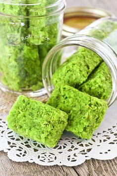 Pandan Coconut Candy, a delightfully sweet treat made with fresh grated coconut flavored with  fragrant screwpine leaves.
