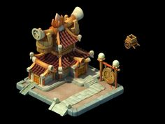 Environment Objects and Buildings Game Environment, Environment Concept Art, Environment Design, Chinese Buildings, Chinese Architecture, Prop Design, Game Design, Cartoon Building, Isometric Map