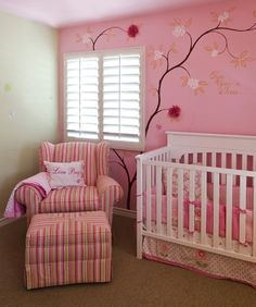 Pink & green baby girl room