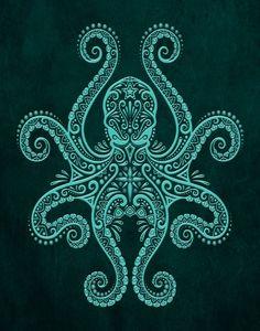 Intricate Teal Blue Octopus Art Print by Jeff Bartels - X-Small Octopus Tattoo Design, Octopus Tattoos, Octopus Print, Tattoo Designs, Octopus Octopus, Mimic Octopus, Octopus Legs, Jellyfish Tattoo, Maori Tattoos