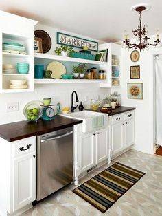 BHG.com...Editors Favorite Kitchen Decor. Nice Floor. #kitchen #decor #diy white cabinets dark counters