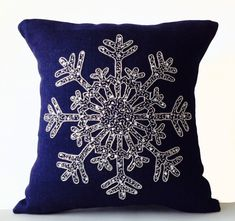 Snowflake Navy Blue Pillows Burlap by AmoreBeaute
