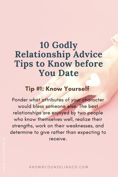 Dating is not for the faint of heart. And if you've had your heart broken in the past it's scary to trust again. But you are not alone when your trust is in the Lord, and His Word is a light to your path. You won't regret it if you seek out godly mentors, and prepare yourself to be a godly mate before you start dating. And as you date, ask God to grant you His discernment while you walk in the Spirit, holding fast to faith and purity. CCTO: Rhonda Stoppe #knowncounseling #Christiandating