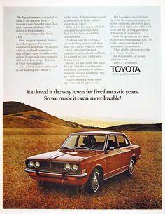 1971 Toyota Corona Sedan original vintage advertisement. Features bucket seats, floor stick shift, flo-thru ventilation, tinted glass, nylon carpeting, white wall tires and locking glove box as standard equipment.