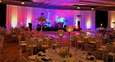 beautifully decorated wedding reception room