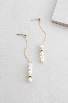 Darling Pearl Dangle Earrings $12