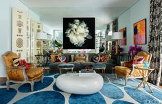 HOUSE TOUR: A Lively São Paulo Duplex With A Touch of Glamour - Love the Maison Jansen faux twig side table here!