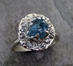 Raw Diamond Aquamarine Gemstone 14k White Gold Halo by byAngeline