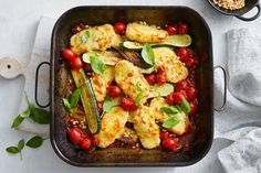 Coated in panko breadcrumbs and covered in mozzarella cheese, we've swapped our chicken for haloumi in this easy vegetarian bake. It's ready in 40 minutes, perfect for school nights. Vegetarian Bake, Vegetarian Recipes, Pescatarian Recipes, Vegetarian Dinners, Healthy Recipes, Sweet Potato Curry, Banana Bread Muffins, Small Baking Dish, Healthy Family Meals