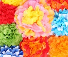 GREAT Cinco de Mayo craft recipe... or for any season! How to make paper flowers out of tissue paper Womensforum.com #Crafts