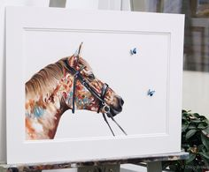 Contemporary watercolour commission with handmade 3D butterflies.  🦋  Painted using Saunders cotton paper, balanced with a custom made double mount. Each of the butterflies where made with archival materials and finished with a UV spray.   Butterfly spieces,  Menelaus blue morpho Watercolor Horse, Watercolour, Chloe Brown, Blue Morpho, Brown Art, Contemporary Artwork, Pet Portraits, Original Artwork, Butterflies