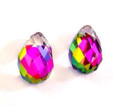 2 Vintage 15x10mm Swarovski Crystal Vitrail Medium Tear Drops, Art. 4872 via Etsy