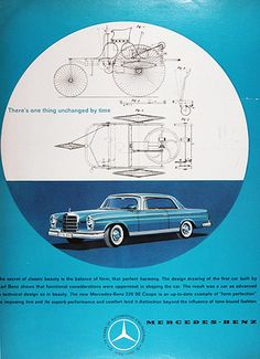 1961 Mercedes Benz 220 SE Coupe original vintage advertisement. The secret of classic beauty is the balance of form, that perfect harmony. The design drawing of the first car built by Karl Benz shows functional considerations were uppermost in shaping the car. There's one thing unchanged by time.