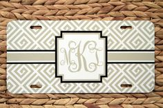 Greek Keys Monogram License Plate Car Tag, Christmas Gifts, Personalized Monogrammed Car Tag Car Accessories Gift  License Plates New Car by ChicMonogram on Etsy