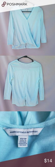 American Eagle Light Blue Top Excellent condition  Feel free to ask me any additional questions! 3+ bundles 15% off. Happy Poshing! American Eagle Outfitters Tops