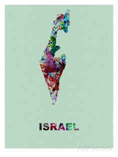 Israel Color Splatter Map Art Print at AllPosters.com