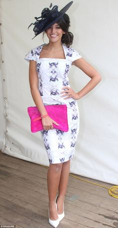 My Fair Lady: Corrie star Michelle Keegan is the epitome of sophistication as she dresses up for the Kildare races Kentucky Derby Outfit, Kentucky Derby Fashion, Derby Attire, Tea Party Attire, Tea Party Outfits, Ascot Outfits, Derby Outfits, Casual Outfits, Michelle Keegan Dresses