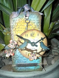 CLOCK TAG!!!! (+birds and flowers)
