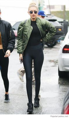 black-pants-and-top-with-olive-jacket