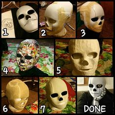 Alright alright! So I got like a bazillion questions on how I made my G!Sans mask so I figured I would just make a single post outlining my construction process. (I still have a video for the eye to do and one for my regular Sans mask, too.) So here is my basic process! 1) I started with one of those plain white crafting masks I picked up from a craft store and drew on it with sharpie to outline where I needed to cut. I was really happy with the default shape the mask gave! I had to trim…