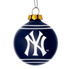 New York Yankees MLB 2014 Glitter Logo Glass Ball Ornament