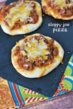 Sloppy Joe Pizza using dinner rolls and an easy ground turkey sloppy joe sauce!