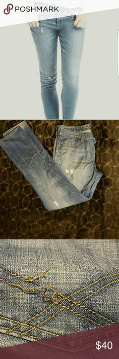 Distressed jeans Slightly ripped/distressed jeans. Back pocket seam loose (see picture for detail) GAP Jeans Straight Leg