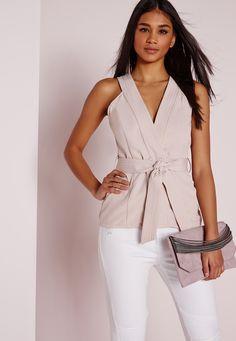 Kimono Tie Sleeveless Blouse Nude - Tops - Kimonos - Missguided