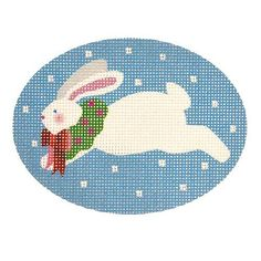 Jumping Bunny with Wreath on Blue Needlepoint Kits, Needlepoint Canvases, Christmas Sled, Nativity Ornaments, Back Pictures, Hand Painted Canvas, Hanging Signs, Polar Bear, Bunny