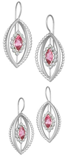 081fd9cea A pair of Suzy Landa pink tourmaline earrings in white gold with diamonds. Tourmaline  Earrings